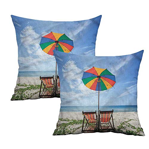 Khaki home Seaside Square Funny Pillowcase Colorful Umbrella Chairs Square Kids Pillowcase Cushion Cases Pillowcases for Sofa Bedroom Car W 18