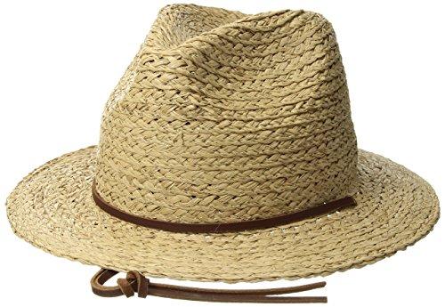 Brixton Men's Levon Short Brim Straw Fedora Hat, tan, L