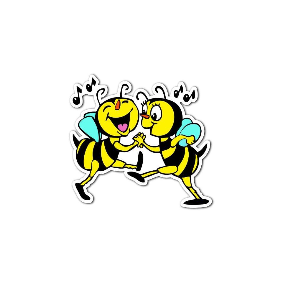 Bees Dance Jitterbug Bee Love Music Car Bumper Sticker Decal 4.5x4.5