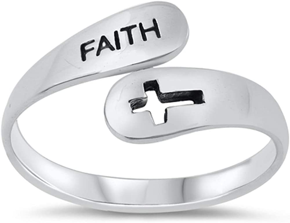 CloseoutWarehouse Oxidized Sterling Silver Faith Cross Ring