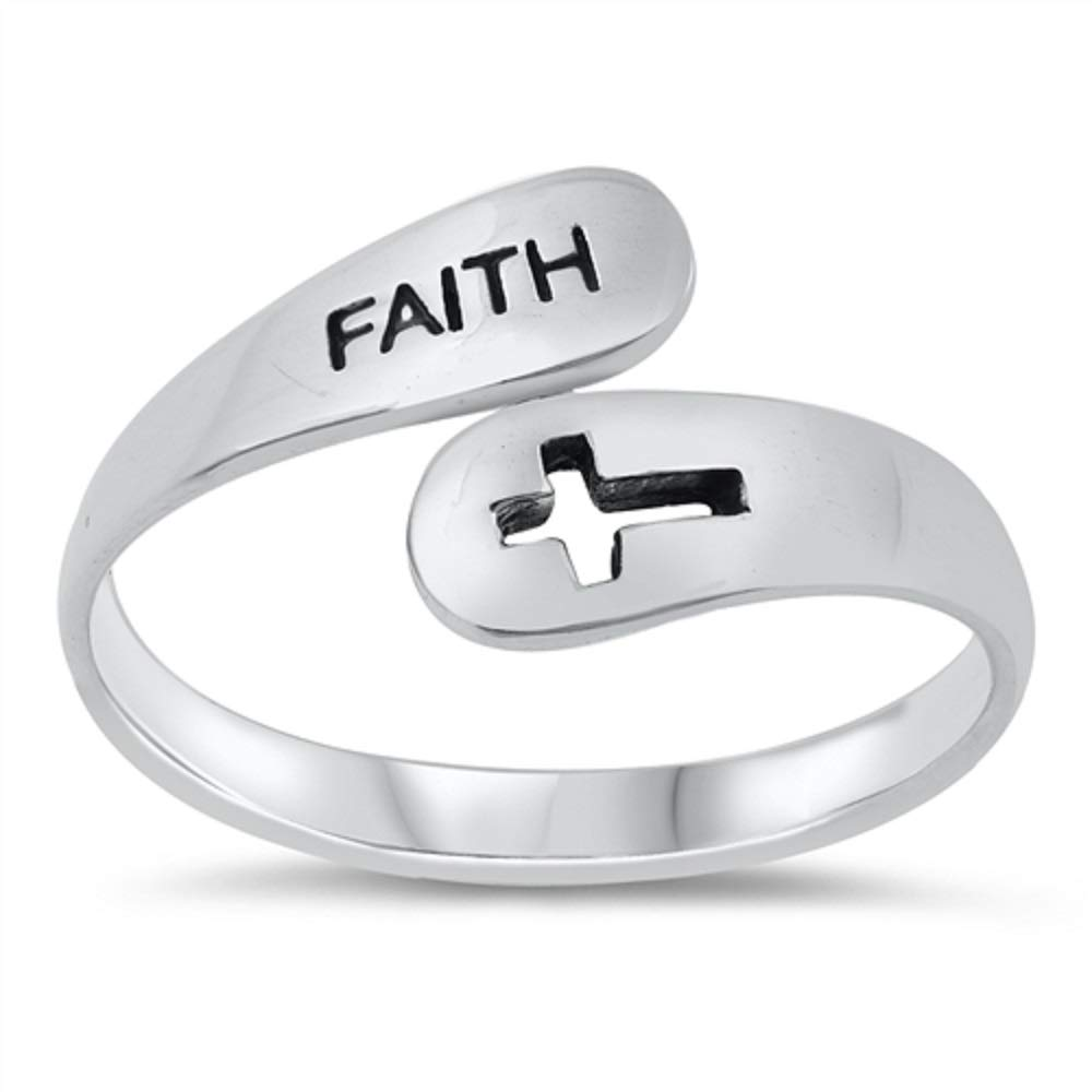 Princess Kylie Oxidized Sterling Silver Faith Open Cross Ring