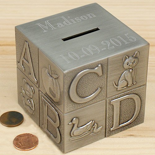 Personalized Baby Bank - Center Gifts Pewter Baby Block Money Bank Personalized | Decorative Money Saver, Coin Bank for Kids and Children | Great Gift for Kid's Birthday, Christening, Baby Shower| Engrave with Name
