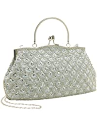 Classic Baguette Style Embroidered Beaded Evening Clutch Purse Fashion Bag