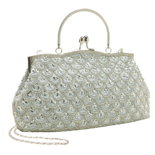 Classic Baguette Style Silver Embroidered Beaded Evening Clutch Purse Fashion Bag