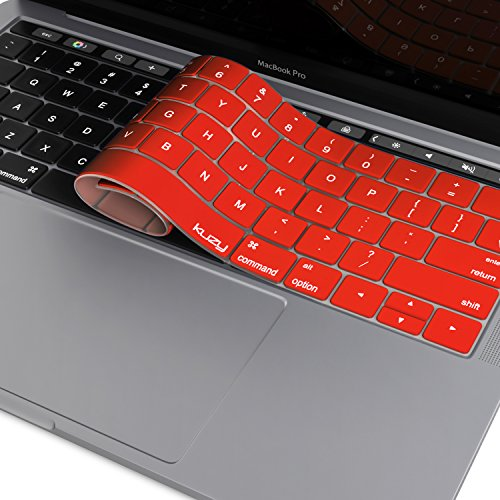 Kuzy - MacBook Pro Keyboard Cover with Touch Bar for 13 and 15 inch New 2019 2018 2017 2016 (Apple Model A2159, A1989, A1990, A1706, A1707) Silicone Skin Protector - Red