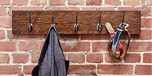 Rustic Style 5-Hook Wooden Coat Rack, Distressed Dark Brown with Aged Brass Hooks, Solid Wood, Wall Mounted, Vintage Entryway Coat Rack, Large, 30'' x 5.5'' by Bleecker Station (Image #2)