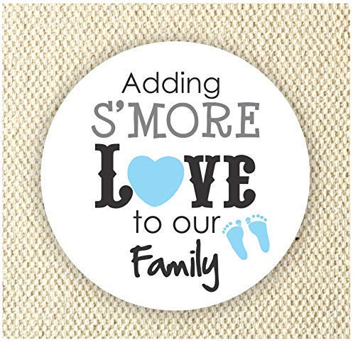 Adding S'more Love to our Family Stickers - Baby Boy Shower Stickers - Thank you for Celebrating with me Labels - Set of 40 stickers from Philly Art & Crafts
