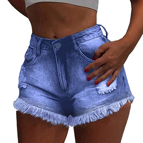Sunyastor Women's Frayed Ripped Short Jeans Summer High Rise Pants Raw Hem Denim Jean Shorts High Waisted Shorts ()