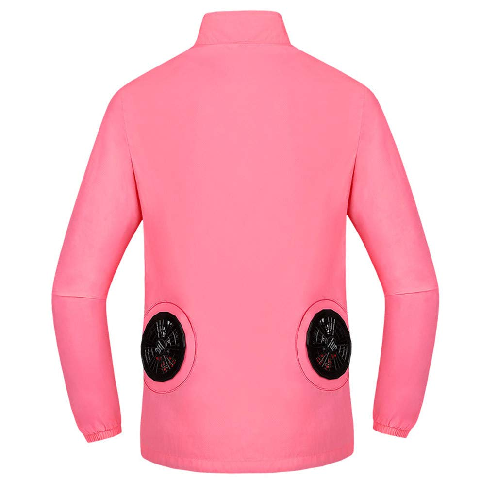 Tomppy Workwear Cooling Jacket with Fan Battery for Men Women Summer UV Protection Outdoors Air-Conditioned Clothes Pink