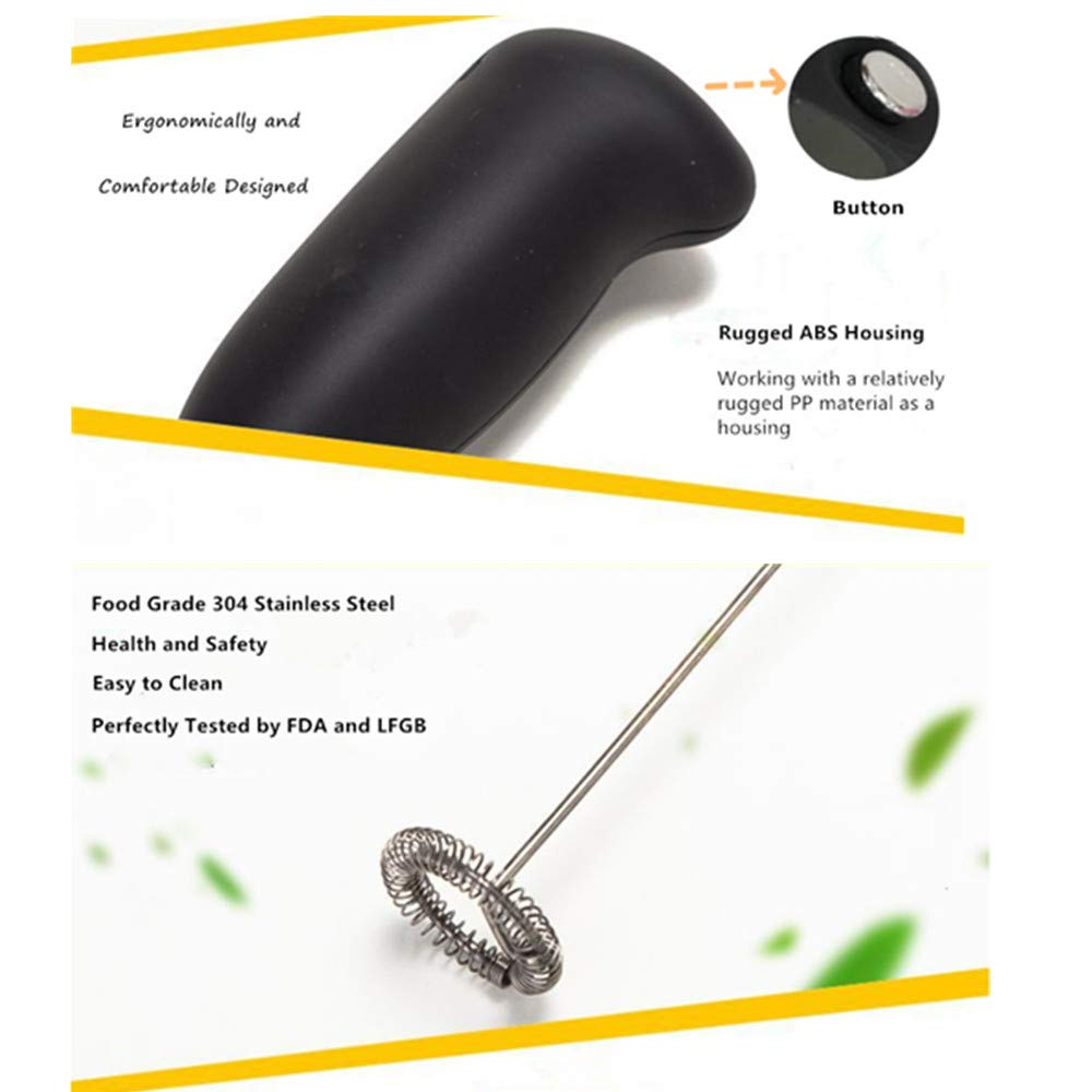 LYH Milk Frother High Powered Mini Foamer Handheld Foam Maker Whisk Drink Mixer for Bulletproof Coffee, Black