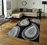All New Contemporary Solid Colored Silky Touch MultiColor Tufted 3D Shag Rugs by Rug Deal Plus (5' x 7', Black/Grey)
