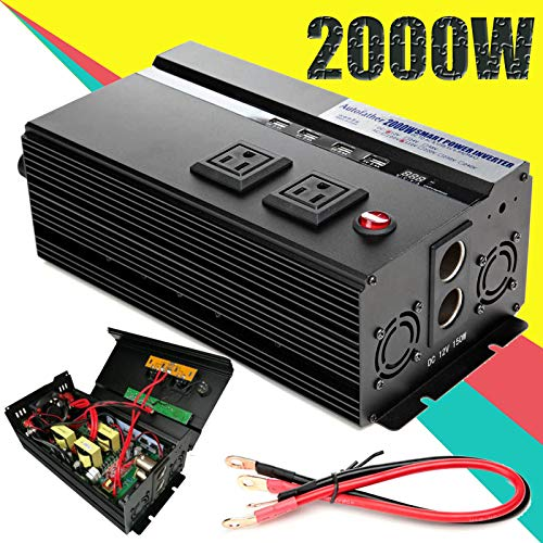 W Car Power Inverter DC 12V to AC 110V Modified Sine Wave Converter wtih 4 USB Ports & Adapters for Device Electronic Charging, 3 Year Warranty ()
