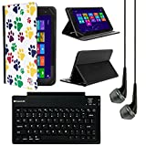VanGoddy Mary 2.0 Standing Portfolio Case for Alcatel OneTouch Pixi 3 10-inch Tablet with Bluetooth Keyboard & Black Headphones, Colorful Dog Paw
