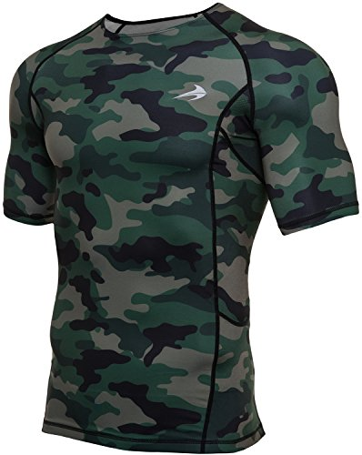 CompressionZ Men's Short Sleeve Compression Shirt - Athletic Base Layer for Fitness, Cycling, Training, Workout, Tactical Sports Wear - Cool Dry Running Shirt - Thermal Rash Guard Protection ()