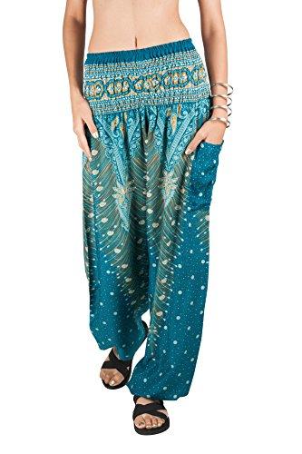 - JOOP JOOP Bohemian Tapered Elephant Harem Loose Yoga Pants,Turquoise,S/M