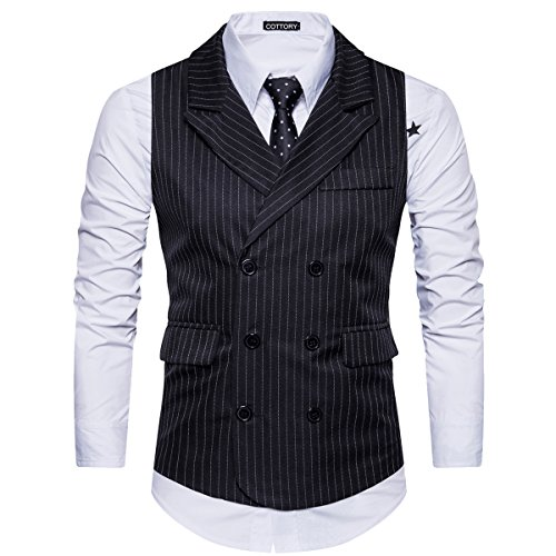 (Cottory Men's Classic Stripes Slim Fit Double-breasted Tailored Collar Suit Vest Black Small)