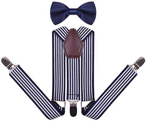 YJDS Boys' Leather Suspenders and Pre Tied Bowtie White Navy Stripe 26 Inches ()
