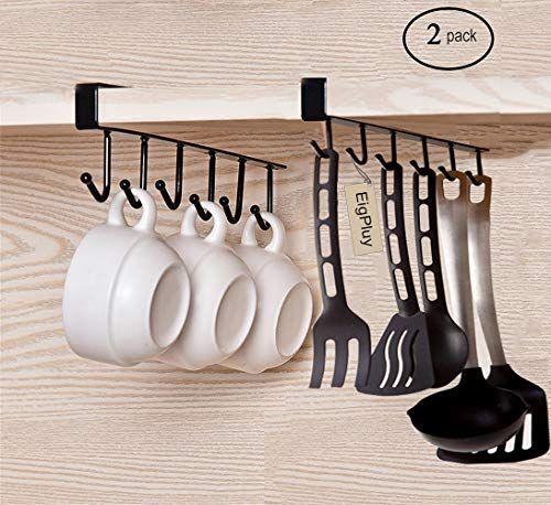 EigPluy 2pcs Mug Hooks Cups Wine Glasses Storage Hooks Kitchen Utensil Ties Belts and Scarf Hanging Hook Rack Holder Under Cabinet Closet Without Drilling,Black by EigPluy