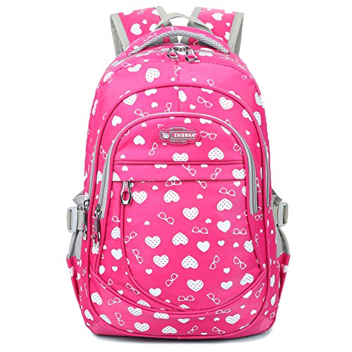 Heart Shaped Waterproof Backpack Laptop Bag for Junior Grade School Kids Girls (Dotted-heart Rose)