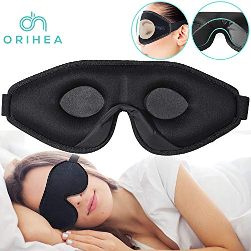 (OriHea Eye Mask for Sleeping - 3D Comfort Soft Sleep Mask Men Women - Block Out Light 100% Eye Shade Cover - Adjustable Premuim Silk Foam Blindfold - Travel/Naps/Yoga/Plane/Night)