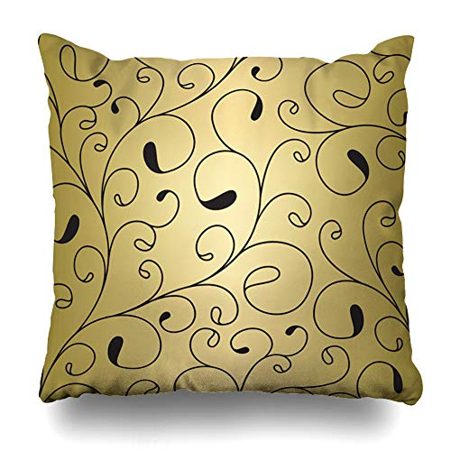 Ahawoso Throw Pillow Cover Label Girly Luxury Gold Vintage Floral Pattern Classic Valentine Abstract Anniversary Birthday Date Decorative Sofa Cushion Case 16