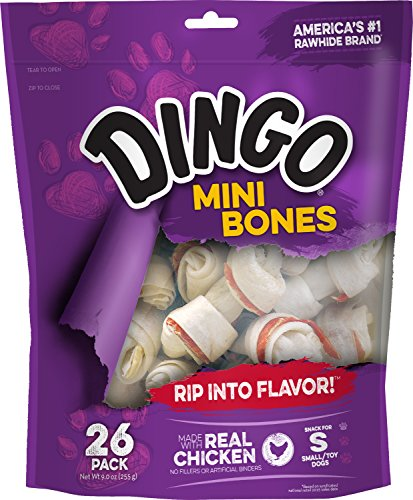 Dingo Mini Bones, Rawhide For Small/Toy Dogs, 26-Count