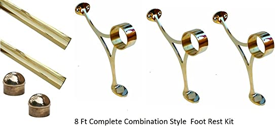 8 ft Brass Foot Rail -2 OD Bar Foot Rail with 3 Combination Brackets-2 Dome End Caps