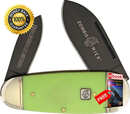 Rough Rider Folding Utility Knife 1455 Zombie Nick Toenail Folding Knife 4'' Green Handle razor sharp knife strong carbon blade survival camping hunting EDC military knife eBOOK by MOON KNIVES