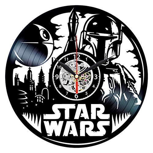 Queen Clocks Star Wars Wall Clock Vinyl Record Art - Boba Fett Gifts for Men - Death Star Room Decor ()