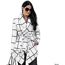 Chicwish Women's Turn Down Shawl Collar Open Front Long Sleeve Grid White Asymmetric Hemline Wool Blend Coat