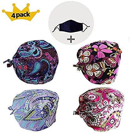 JoyRing 4 Pack Unisex Adjustable Surgical Hat Scrub Cap with Sweatband for  Ponytail and Free Reusable 8ddac1dfa0da