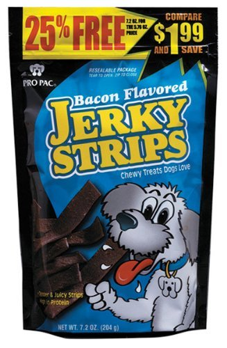 PRO PAC Bacon Flavored Jerky Strips Dog Treats, 7.2-Ounce Bag