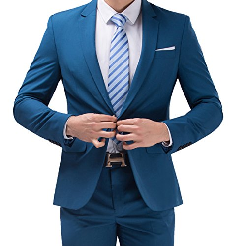 Jearey Mens Blazer Casual Slim Fit Lapel Suit Jacket One Button Daily Business Dress Coat (Blue, (Blazer For Men)