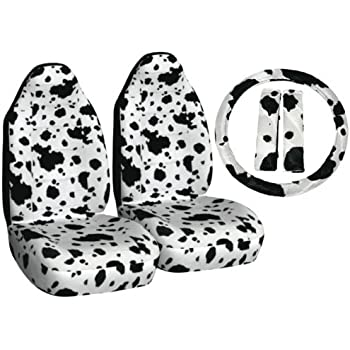 Amazon Com 9pc Safari White Cow Print Car Floor Mats