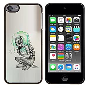 Qstar Arte & diseño plástico duro Fundas Cover Cubre Hard Case Cover para Apple iPod Touch 6 6th Touch6 (Goth Emo Zombie)