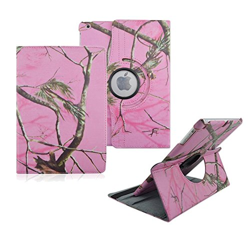 iPad Air Case - Tsmine Premium 360 Degree Rotating OWL Animal Flip Folio PU Leather Case For Apple iPad Air(2013 Released),Pink Branches