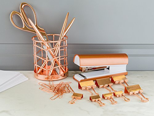 Rose Gold Desk Accessories | 7 Desktop Essentials (44 Items Total) | Office Supply Set & Organizer in Rose Gold Décor by Greenline Goods (Image #6)'