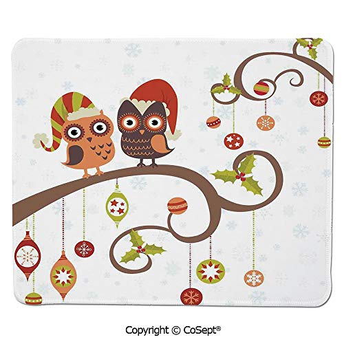 Mouse Pad,Owls on Decorated Twiggy Tree Branches Annual Yule Noel Christmas Themed,Water-Resistant,Non-Slip Base,Ideal for Gaming (7.87