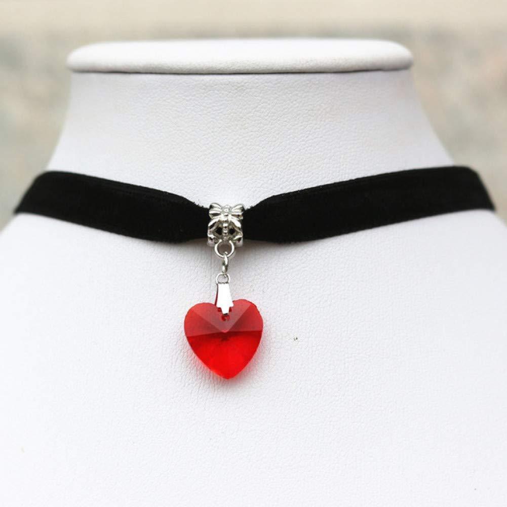 CXKNB Tatuaje 7 Colores Corazón De Cristal Simple Collares Y ...