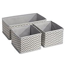 InterDesign Chevron Fabric Closet/Dresser Drawer Storage Organizer - Set of 3, Taupe/Natural