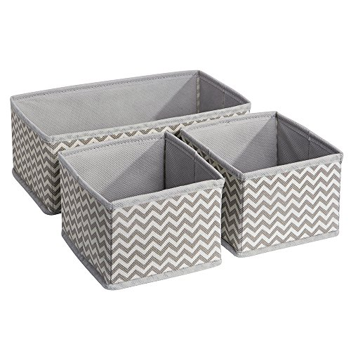 InterDesign Chevron Fabric Closet/Dresser Drawer Storage Organizer, for Underwear, Socks, Bras, Tights, Leggings - Set of 3, Taupe/Natural (Dresser With Drawers And Shelves)