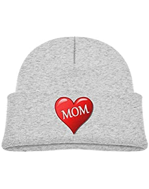Kids Knitted Beanies Hat Red-Mom Winter Hat Knitted Skull Cap for Boys Girls Pink