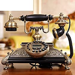 DW&HX Classic solid wood antique radio Continental telephone retro home d茅cor-B