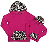TAOHONG Family Matching Set Leopard Patchwork Hoodies Front Pocket Sweatshirt Cute Blouse Pullover Tops