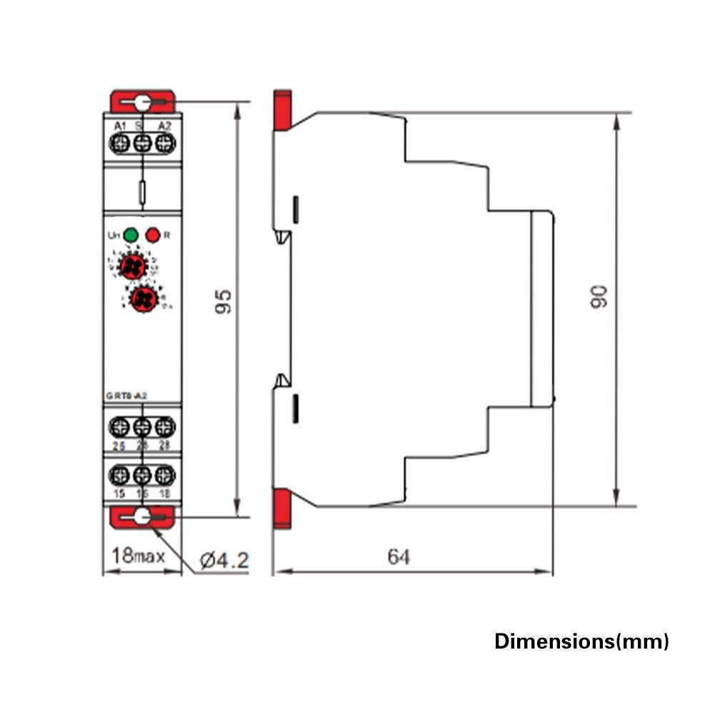 GRT8-B1 AC//DC 12V~240V Delay Time Relay Mini Power Off Delay Time Relay DIN Rail Type with LED Indicators
