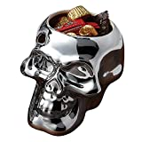 Silvertone Mirror Skull Shaped Small 4.5 x 4 Inch Earthenware Candy Bowl
