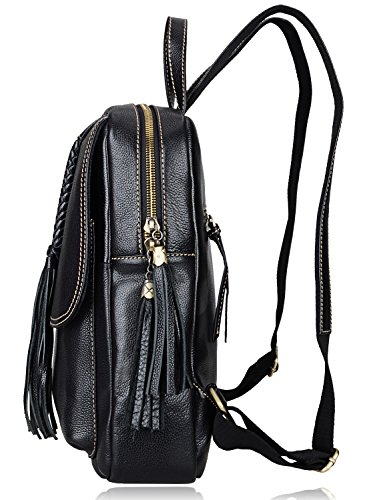 PIJUSHI Fashion Women Leather Backpack Designer Backpack For Girls Travel School Bag 8823 (Black) by PIJUSHI (Image #3)