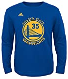 Adidas NBA Youth Kevin Durant Golden State Warriors Player Name and Number Long Sleeve Jersey T-Shirt, Youth X-Large, Royal