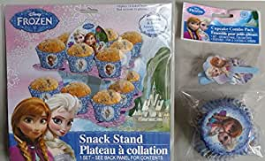 Disney Frozen CupCake/Snack Stand! Plus Bonus Cupcake Baking Cup/Liners Combo Pack!