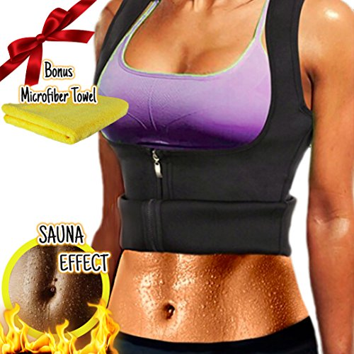 McKindly WOMEN NEOPRENE SAUNA WAIST GYM TRAINER VEST WITH ZIPPER - WEIGHT LOSS - BODY SHAPER - PLUS MICROFIBER TOWEL (XL)